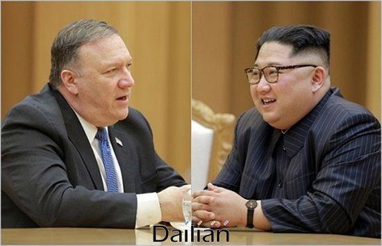 (왼쪽부터) 마이크 폼페이오 미국 국무장관과 김정은 북한 국무위원장 ⓒ조선중앙통신
