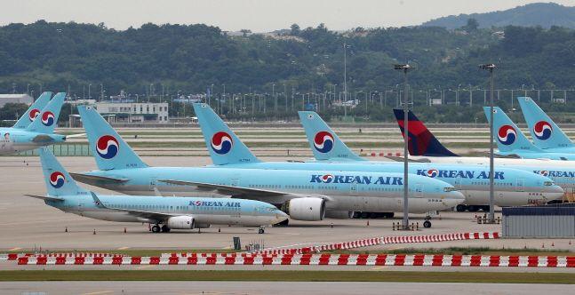 인천국제공항 주기장에 대한항공 여객기들이 주기돼 있다.(자료사진)ⓒ뉴시스