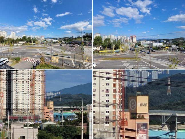 삼성전자 스마트폰 '갤럭시S20 FE'로 촬영한 사진. 왼쪽 위부터 시계방향으로 초광각, 광각, 30배 확대, 10배 확대한 모습.ⓒ데일리안 김은경 기자