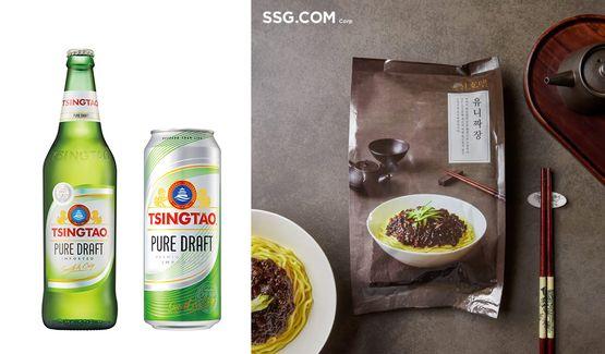 (왼쪽)칭따오 퓨어 드래프트(생) & 신세계 밀키트ⓒ각 사 제공