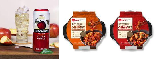 (왼쪽) 애플사이더 매그너스 & SPC삼립잇츠 안주요리 2종ⓒ각 사 제공