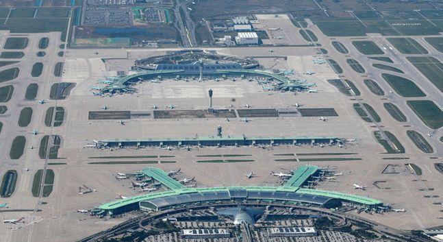 인천공항 1터미널과 탑승동, 2터미널이 한눈에 보이는 전경.ⓒ인천공항공사