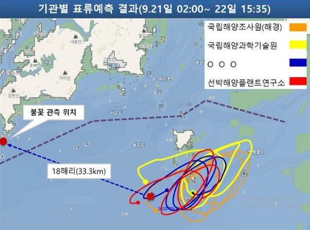 북한군 총격에 사망한 해양수산부 소속 공무원의 해상 표류 예측 결과도. ⓒ해양경찰청 제공