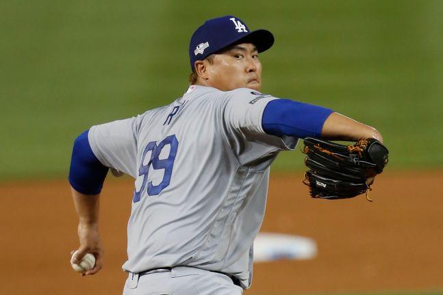 다저스 시절 류현진은 포스트시즌서 준수한 활약을 펼쳤다. ⓒ 뉴시스