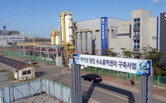 현대제철 수소 공장과 하이넷 당진 수소출하센터 착공 부지 모습. ⓒ현대제철