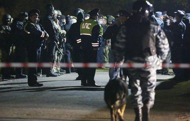 총격 사건에 출동한 러시아 현지 경찰 ⓒ연합뉴스