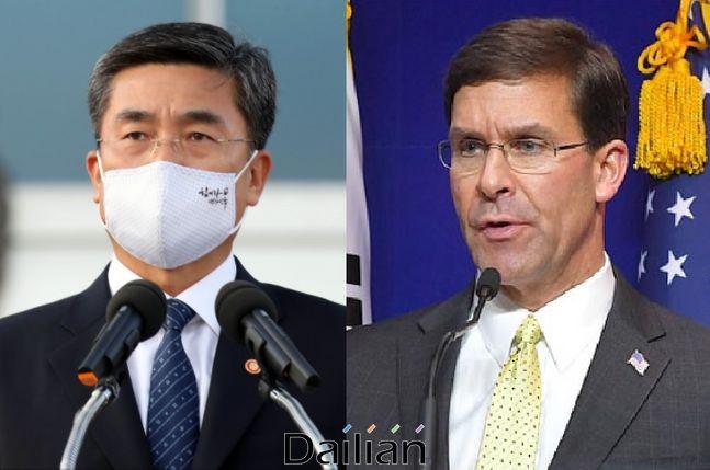 (왼쪽부터) 서욱 국방부 장관, 마크 에스퍼 미 국방부 장관 ⓒ데일리안