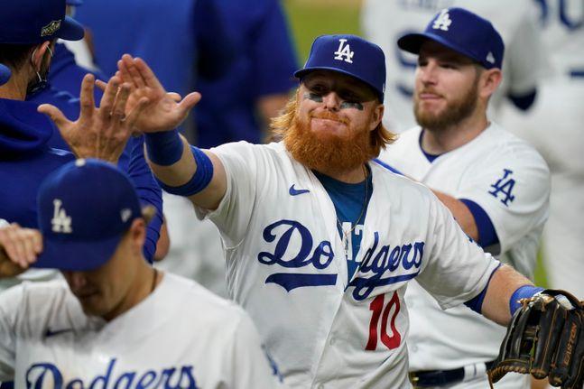 시리즈 승부를 NLCS 7차전까지 이어간 LA 다저스. ⓒ 뉴시스