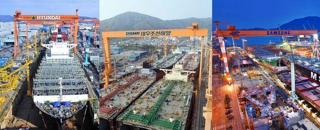 현대중공업 울산조선소(왼쪽부터), 대우조선해양 옥포조선소, 삼성중공업 거제조선소 전경. ⓒ각사