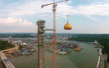 대림산업, 순가이 브루나이 대교 주탑 꼭대기에 이슬람 돔 설치