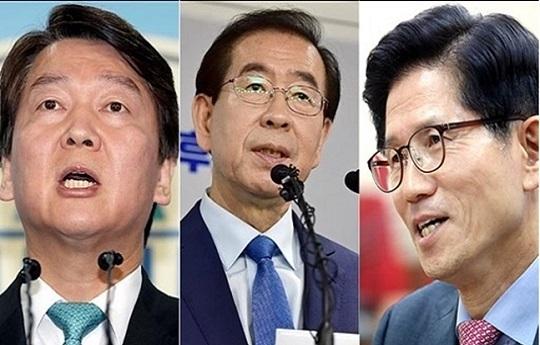 """""""경쟁자? 나 자신""""이라는 박원순에 맹공 퍼붓는 김문수·안철수"""