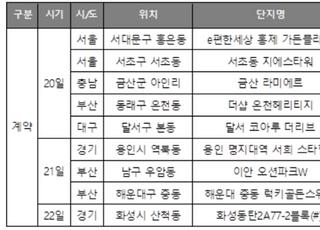 [주간분양] 청약일정 '無'…계약만 9곳 진행 예정