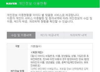 네이버, 개인정보 이용 확인·동의 철회 '원스톱' 제공