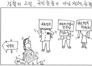[D-시사만평] 검찰 연기력 '칭찬?'…전방위로 나선 추미애 옹호