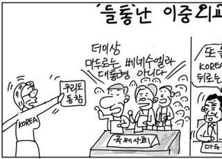 [D-시사만평] 한국 이중외교 논란…앞에선 비난 뒤에선 원조